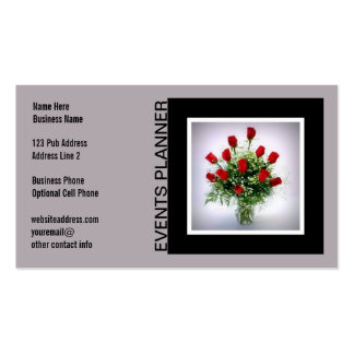 Events Planner Coordinator Roses Black Gray Business Card Templates