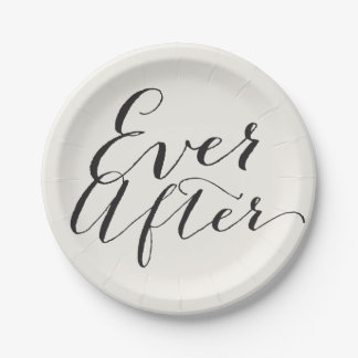 Ever After Classic Script Chic Calligraphy Wedding 7 Inch Paper Plate