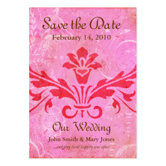 Ever After Pink Damask Save the Date Cards Large Business Cards (Pack Of 100)