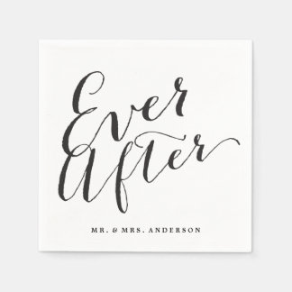 Ever After Script Calligraphy Wedding Paper Napkin