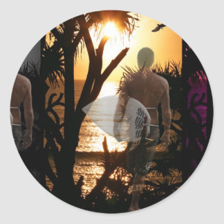 Ever Changing Season Surfer Classic Round Sticker