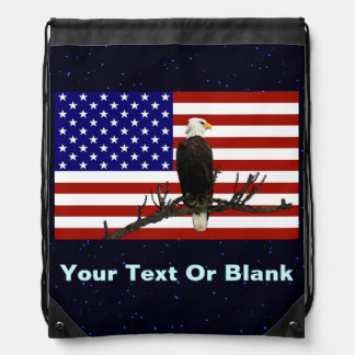 Ever Vigilant Bald Eagle Drawstring Backpack