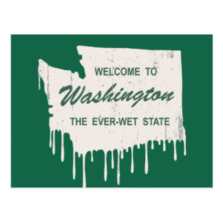 Ever-Wet State Postcard