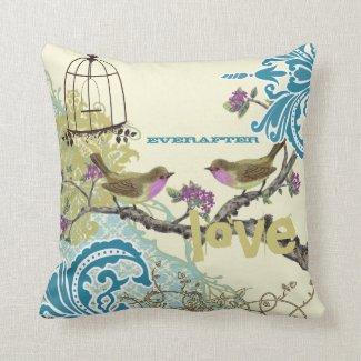 Everafter Bride Teal Lime & Plum Bird Birdcage Pillows