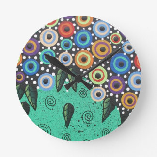 Everett_ Day Of The Dead, Bird Art, Funny, Cute Round Wall Clock
