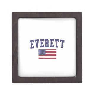Everett MA US Flag Keepsake Box