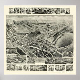 Everett, mapa panorámico del PA - 1905 Póster