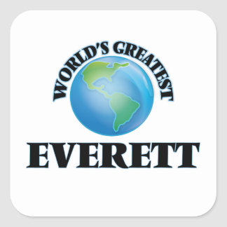 Everett más grande del mundo calcomanias cuadradas