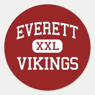 Everett - Vikingos - High School secundaria - Etiqueta Redonda