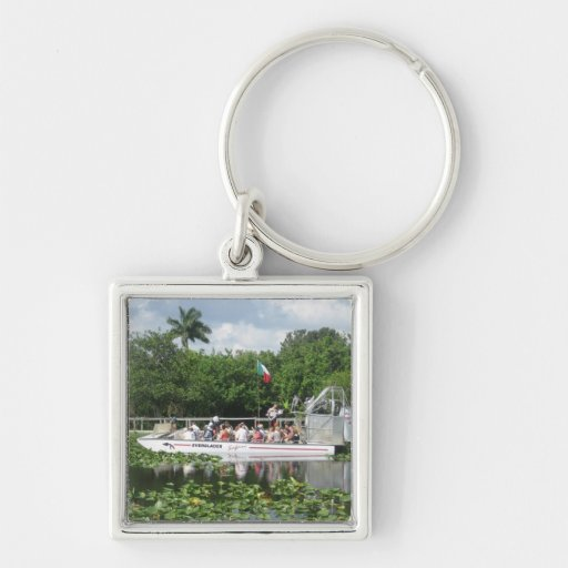 Everglades Silver-Colored Square Keychain