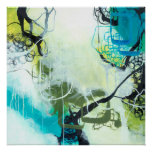 Everglades - Square Blue & Green Abstract Art Poster