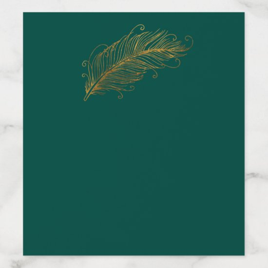 Evergreen and Gold Feather Envelope Liner