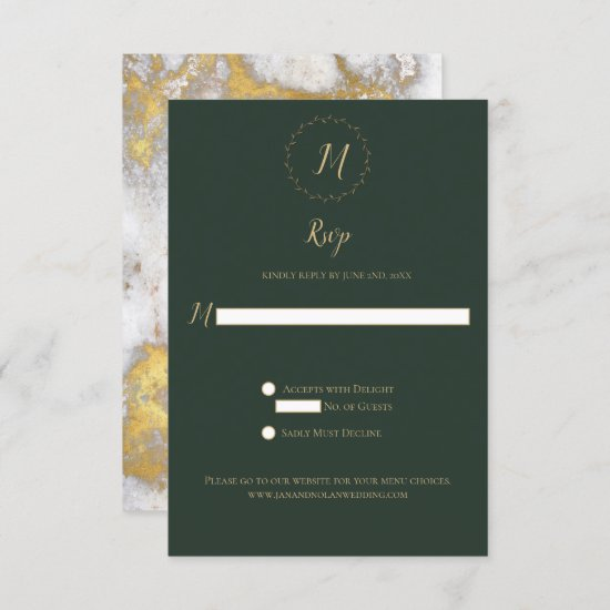 Evergreen and Gold Marble Monogram Vertical RSVP