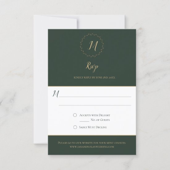 Evergreen and Gold Monogram Vertical RSVP Cards
