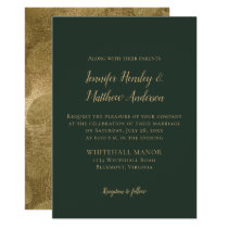 Evergreen and Gold Winter Wedding Invitations