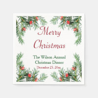 Evergreen and Red Berries Christmas Napkins