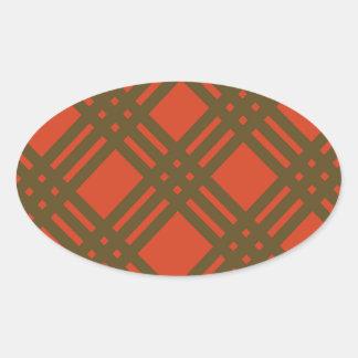 Evergreen and Red Lattice Oval Sticker
