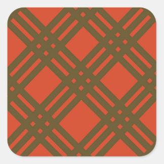 Evergreen and Red Lattice Square Sticker