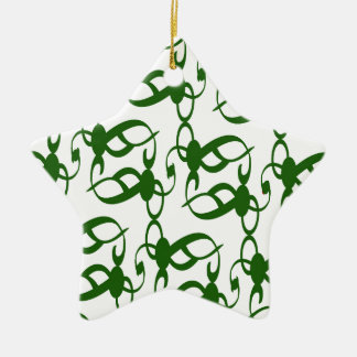 Evergreen and White Lace Ceramic Ornament