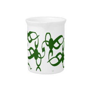 Evergreen and White Lace Drink Pitcher