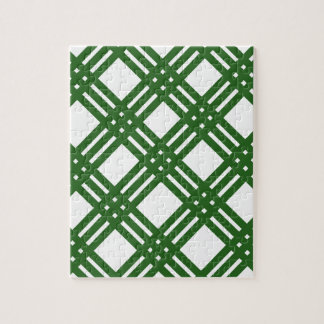 Evergreen and White Lattice Jigsaw Puzzle