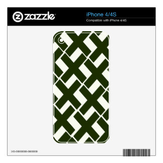Evergreen and White Xs Decals For iPhone 4