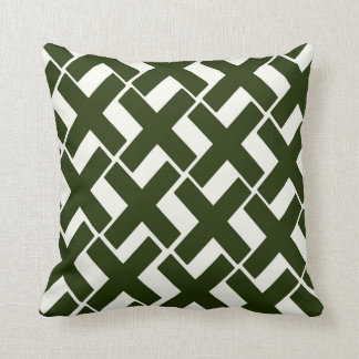 Evergreen and White Xs Throw Pillow