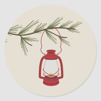 Evergreen Branch Red Lantern Classic Round Sticker
