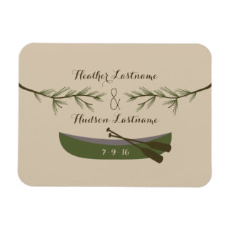 Evergreen Branches + Canoe Save The Date Magnet