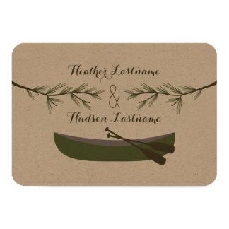 Evergreen Branches + Canoe Wedding R.S.V.P. 3.5x5 Paper Invitation Card