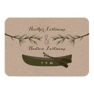 Evergreen Branches + Canoe Wedding Save The Date 3.5x5 Paper Invitation Card