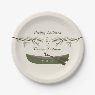 Evergreen Branches + Canoe Wedding 7 Inch Paper Plate