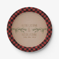 Evergreen Branches Plaid Wedding Paper Plate
