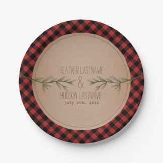 Evergreen Branches Plaid Wedding 7 Inch Paper Plate