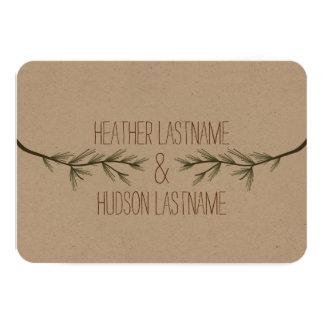 Evergreen Branches Rustic Wedding R.S.V.P. 3.5x5 Paper Invitation Card