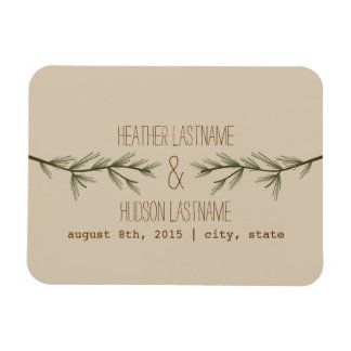 Evergreen Branches Save The Date Magnet