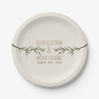 Evergreen Branches Wedding 7 Inch Paper Plate