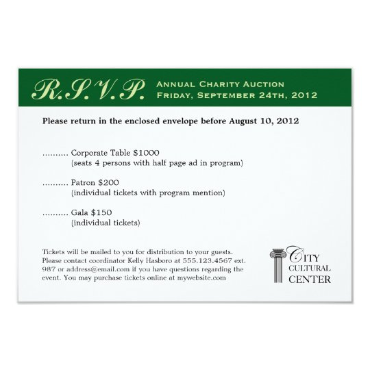 Evergreen business gala event corporate RSVP Card