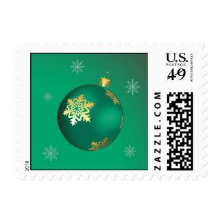 Evergreen Christmas ball Postage Stamp