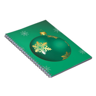 Evergreen Christmas baubles Spiral Note Book