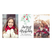 Evergreen Christmas Holiday 2-Photo Card