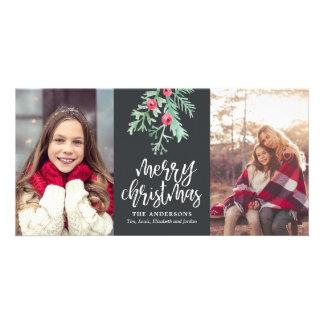Evergreen Christmas Holiday 2-Photo Slate Card