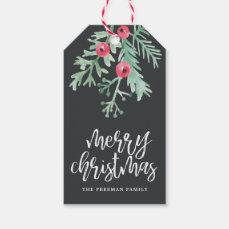 Evergreen Christmas Holiday Gift Tag Slate