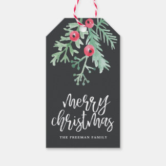 Evergreen Christmas Holiday Gift Tag Slate