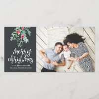 Evergreen Christmas Holiday Photo Slate