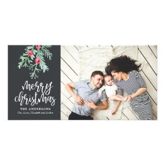 Evergreen Christmas Holiday Photo Slate Card