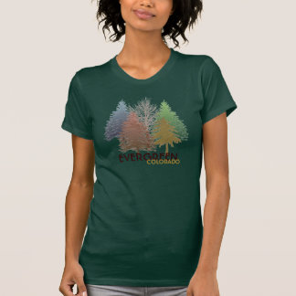 Evergreen Colorado colorful trees ladies tee