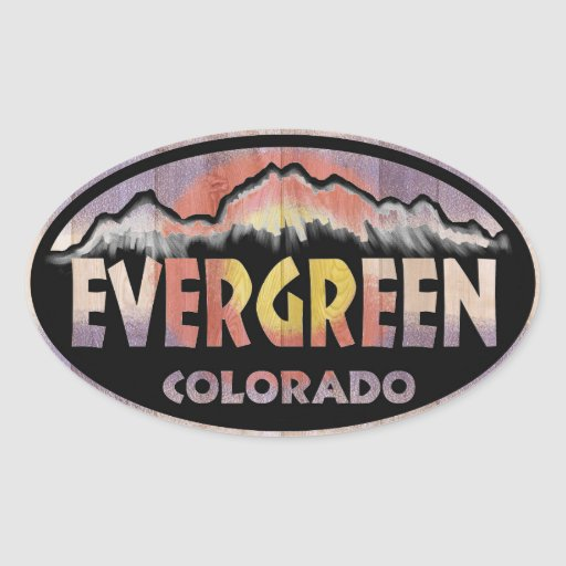 Evergreen Colorado wood flag oval stickers
