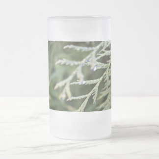 evergreen, cypress leaves 16 oz frosted glass beer mug