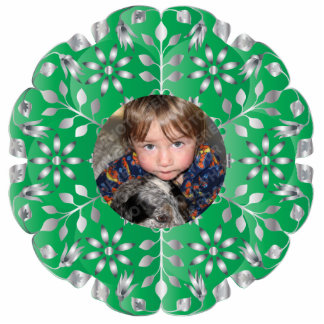 Evergreen Floral Christmas Photo Ornament Frame